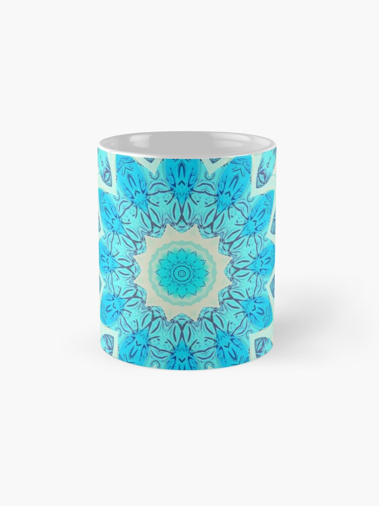 Alternate view of Blue Ice Goddess, Aqua Cyan Star Mandala Mug