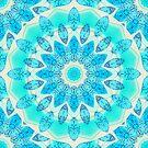 Blue Ice Goddess, Aqua Cyan Star Mandala by Diane Clancy