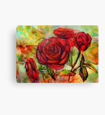 Watercolor painting of roses in the garden  Canvas Print
