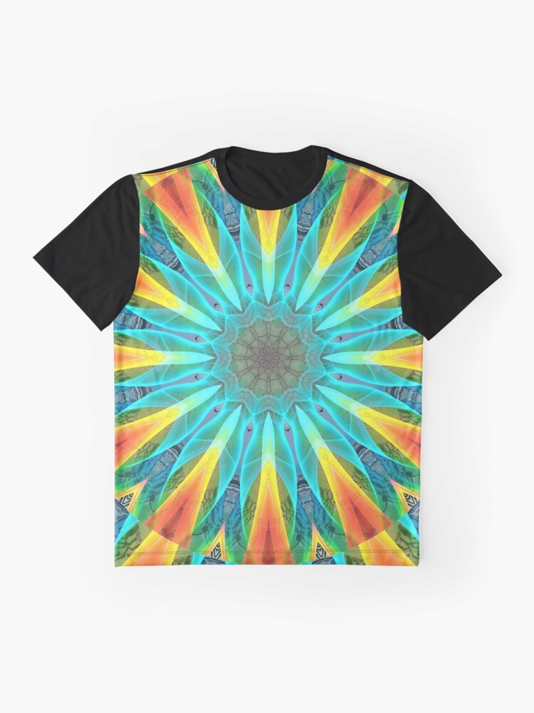 Alternate view of Aqua Gold Joy to the World Wild Flowers  Graphic T-Shirt