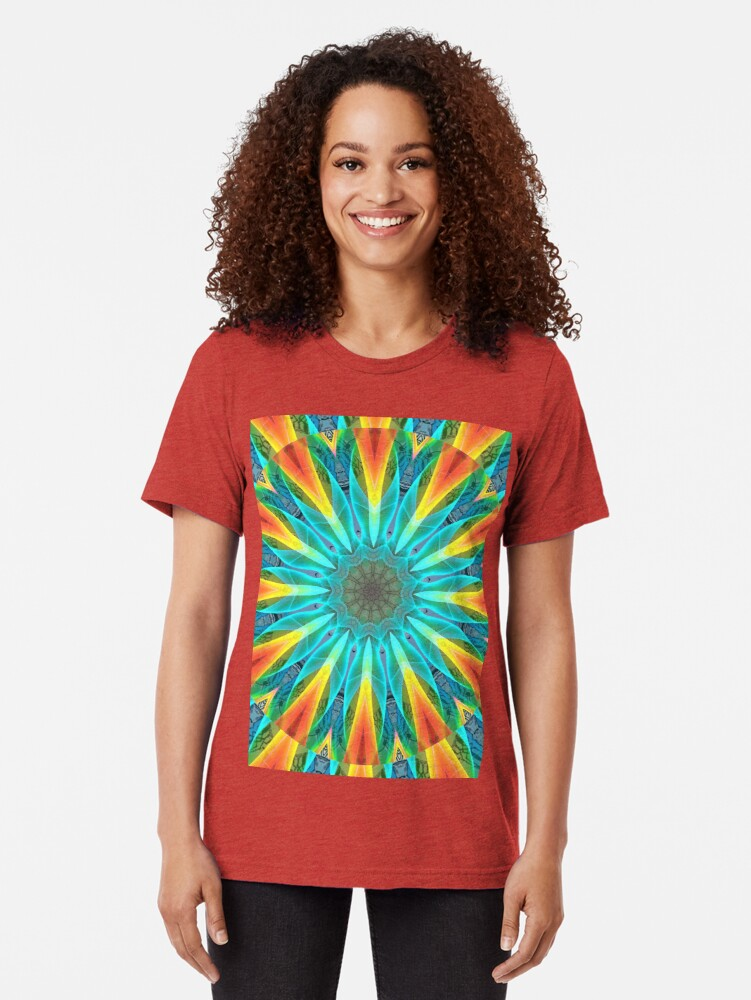 Alternate view of Aqua Gold Joy to the World Wild Flowers  Tri-blend T-Shirt