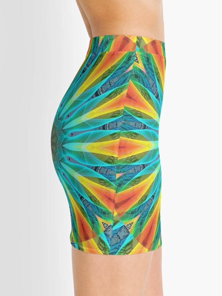 Alternate view of Aqua Gold Joy to the World Wild Flowers  Mini Skirt