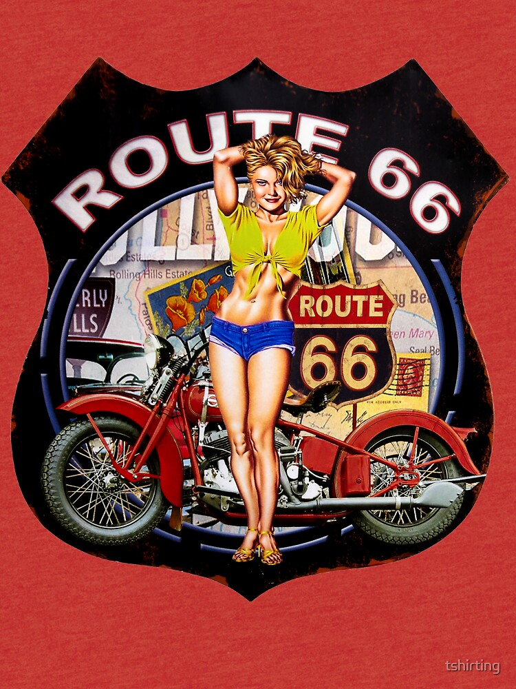 Route 66 - Motorcycle - Vintage by tshirting