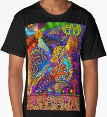 Psychedelic Trippy Rooster Color Long T-Shirt
