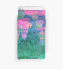 Poetic Mountain at Dawn, Glorious Pink Green Sky Duvet Cover