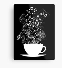 Cup of Music (White) Metal Print