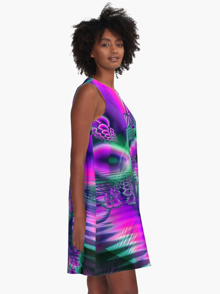 Alternate view of Teal Violet Crystal Palace, Abstract Fractal Cosmic Heart A-Line Dress