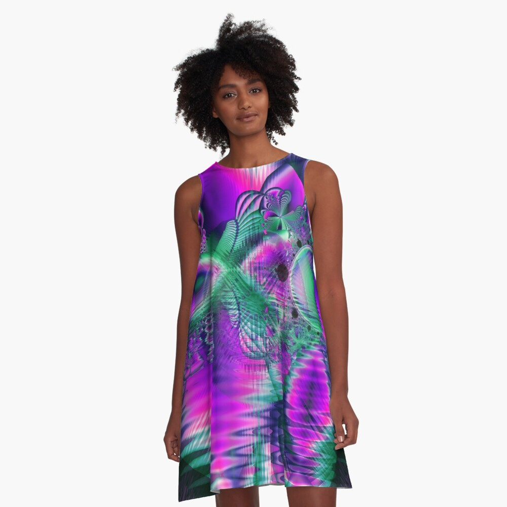 Teal Violet Crystal Palace, Abstract Fractal Cosmic Heart A-Line Dress