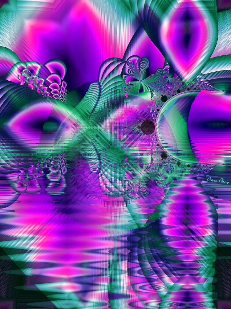 Teal Violet Crystal Palace, Abstract Fractal Cosmic Heart by dianeclancy