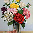 Vase of Garden Roses - floral realistic painting by LindaAppleArt