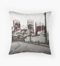 Red Road Flat demolition multi stack  Throw Pillow