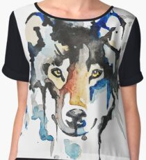 Watercolour Wolf Women's Chiffon Top