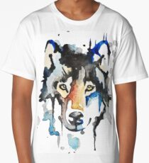 Watercolour Wolf Long T-Shirt