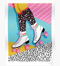Steeze - 80s retro throwback rollerskating rink neon memphis 1980's vibes Poster