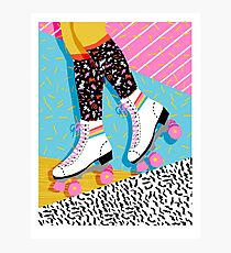 Steeze - 80s retro throwback rollerskating rink neon memphis 1980's vibes Photographic Print