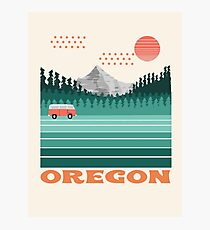 Oregon - 70s style travel poster vintage van life rv vacation mountains  Photographic Print