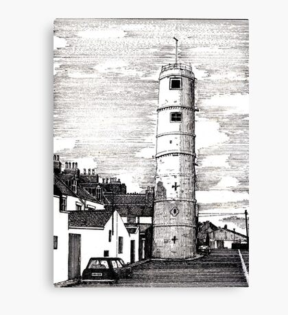 163 - BATH TERRACE LIGHTHOUSE, BLYTH (INK 1988) Canvas Print