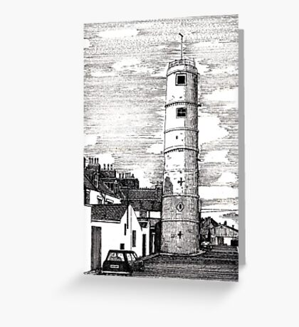 163 - BATH TERRACE LIGHTHOUSE, BLYTH (INK 1988) Greeting Card