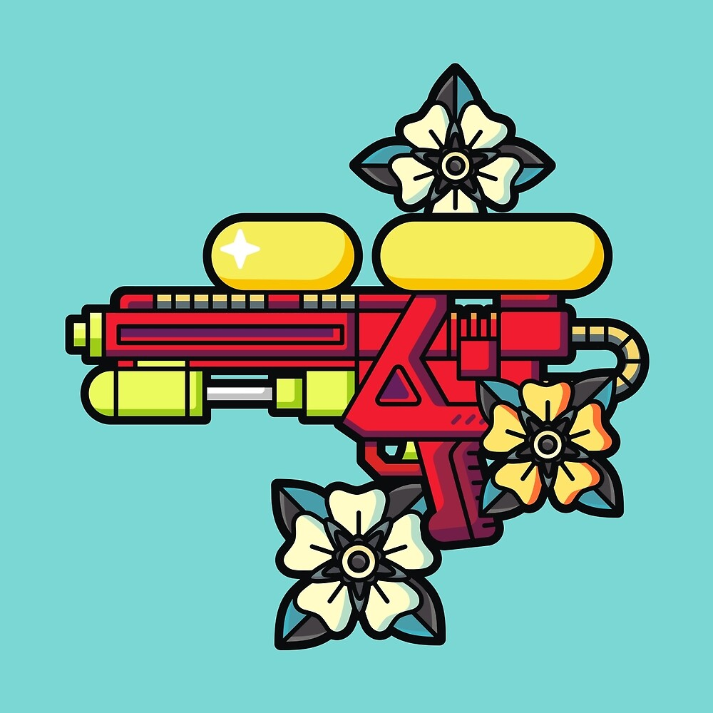 Flowers and watergun by valegr