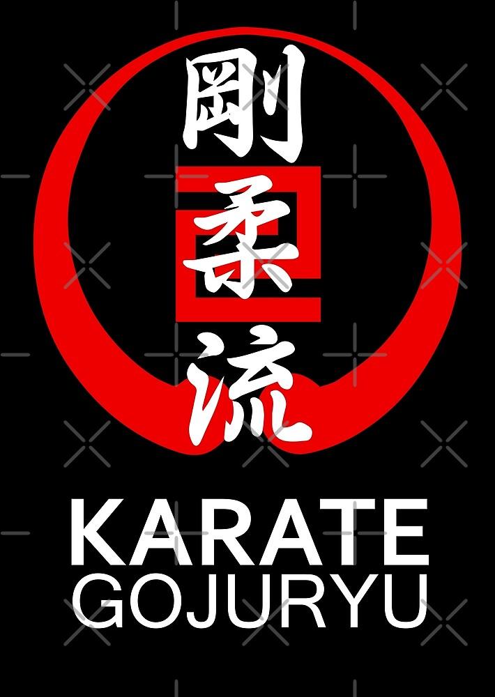 Gojuryu Karate Symbol and Kanji White text by DCornel