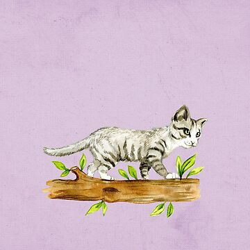 Watercolor Kitten on a Branch by crazycanonmom