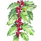 Holly Branch, Green Leaves and Red Berries, Christmas Art, Anne Hockenberry by birdsandberry