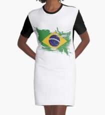 Brazil Flag Brush Splatter Graphic T-Shirt Dress