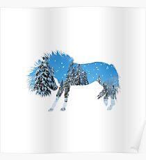 Winter Scene Horse Silhouette Poster