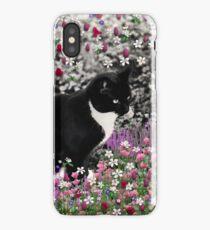 Freckles in Flowers II - Tuxedo Cat iPhone Case/Skin