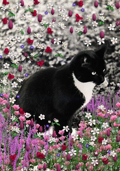 Freckles in Flowers II - Tuxedo Cat by Diane Clancy