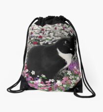 Freckles in Flowers II - Tuxedo Cat Drawstring Bag