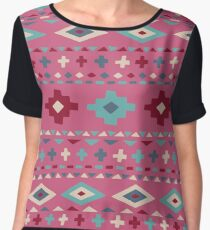 Hand drawn ethnic pattern in boho style Women's Chiffon Top