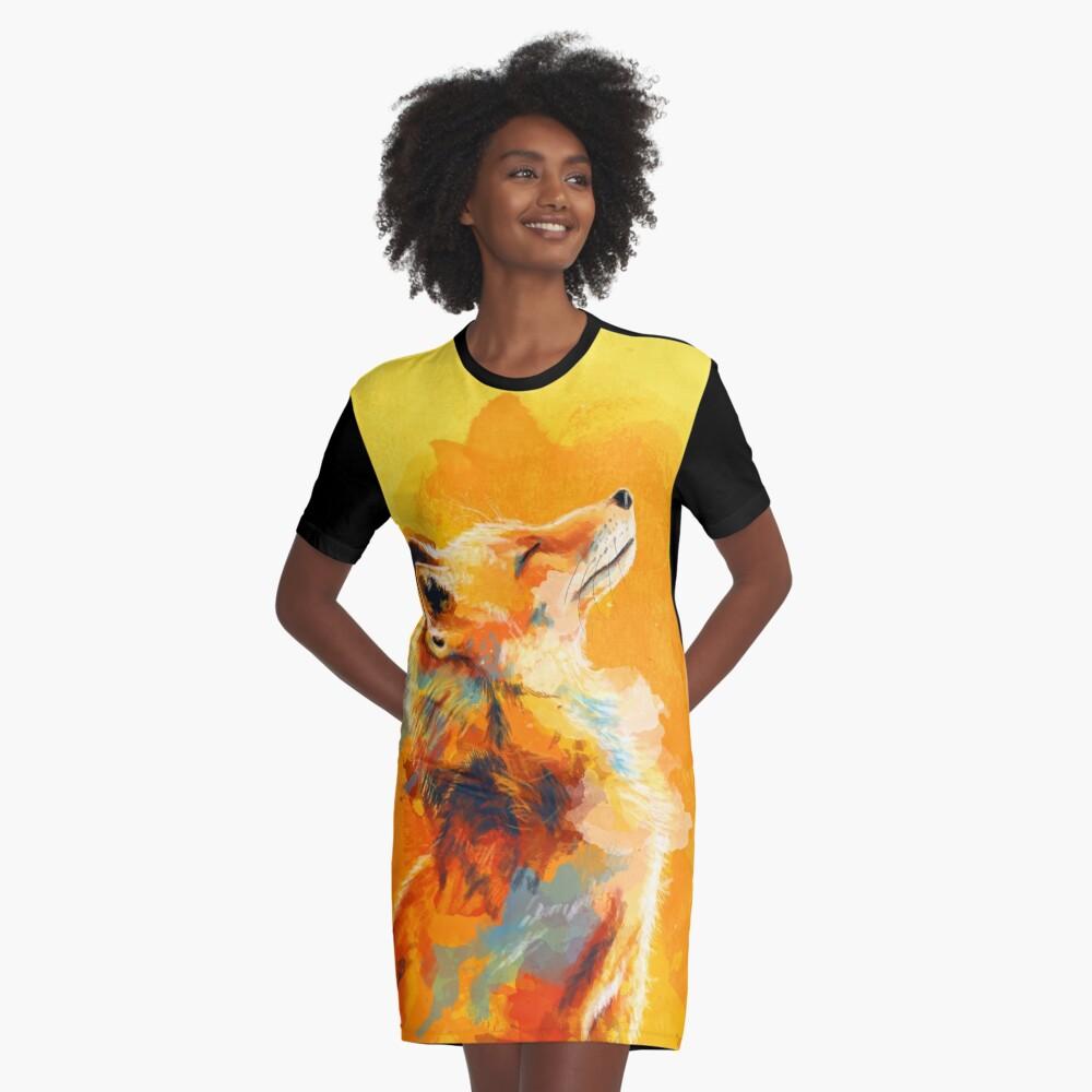 Glückseliges Licht - Fox-Illustration, Tierporträt, inspirierend T-Shirt Kleid