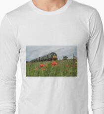 Diesel hauled train passes the poppies T-Shirt