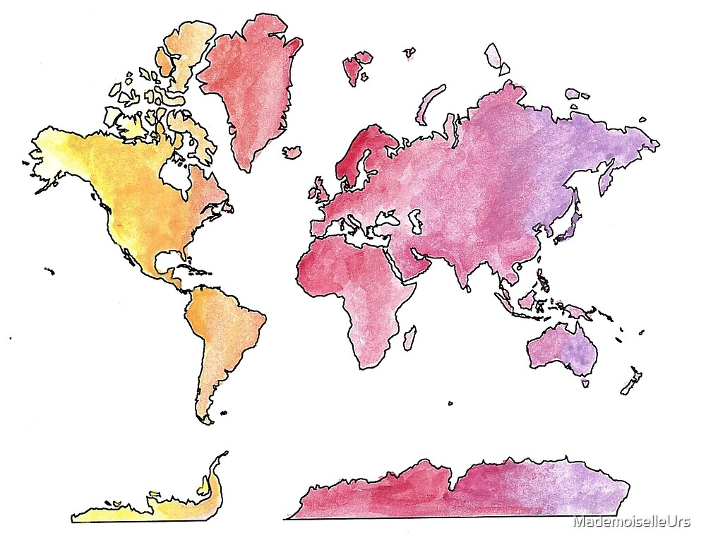watercolor world map by MademoiselleUrs