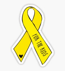 Yellow Awareness Ribbon – For the Kids (Handwritten) Sticker