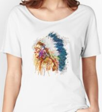 Native American Chief Side Face Women's Relaxed Fit T-Shirt