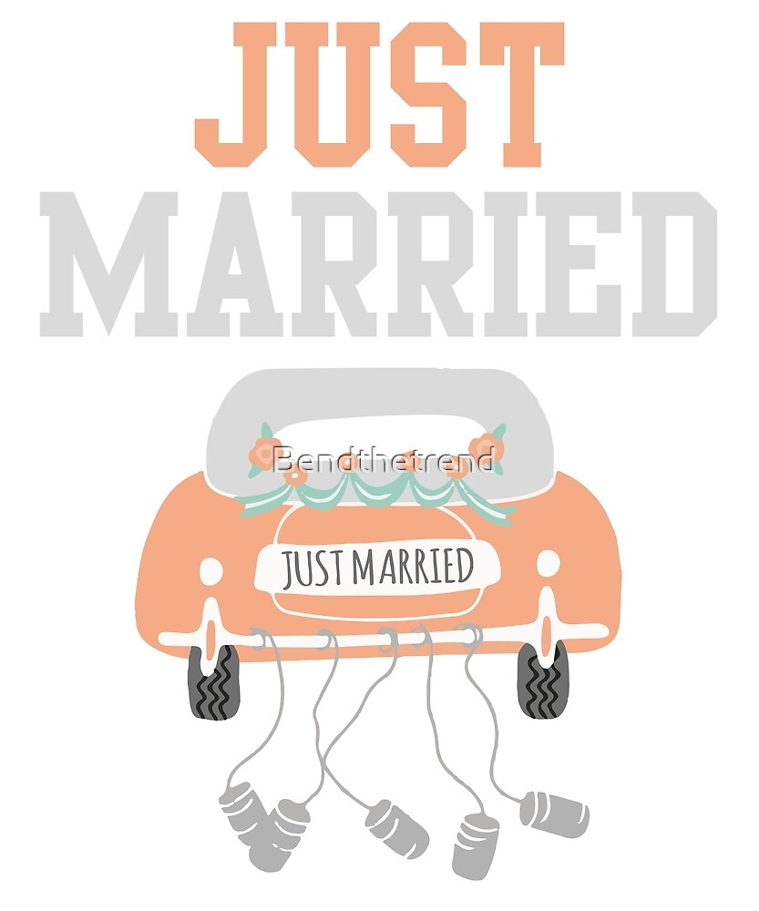 Just Married Love Couple in Car Happy Illustration Marriage by Bendthetrend