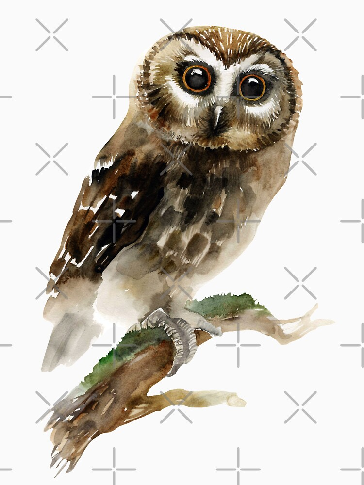 Watercolor Brown Owl by torysevas