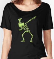 Dabbing Skeleton With Top Hat Glow Green Look Gear Women's Relaxed Fit T-Shirt