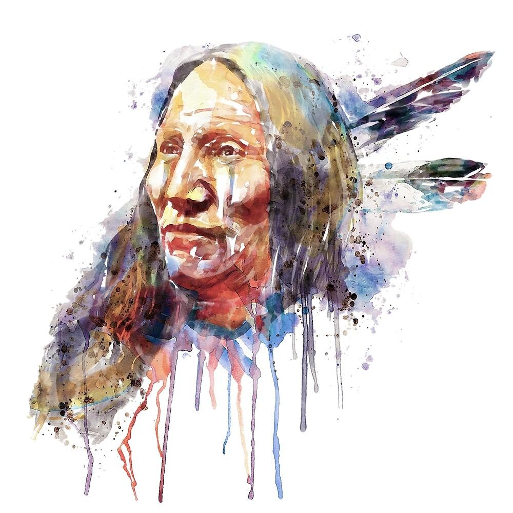 Native American Portrait by Marian  Voicu