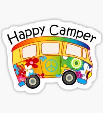 HAPPY CAMPER PEACE VOLKSWAGEN HIPPIE BUS HIPPY CAMPING CAMP Sticker