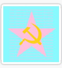 Pastel Pink and Blue Hammer and Sickle Sticker