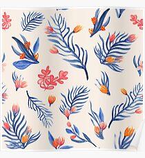 Succulent garden pattern on cream Poster