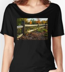 Rustic Wooden Fence in Autumn Women's Relaxed Fit T-Shirt
