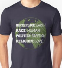 Birthplace Earth Race Human Women Rights Equality Liberal Spiritual  T-Shirt