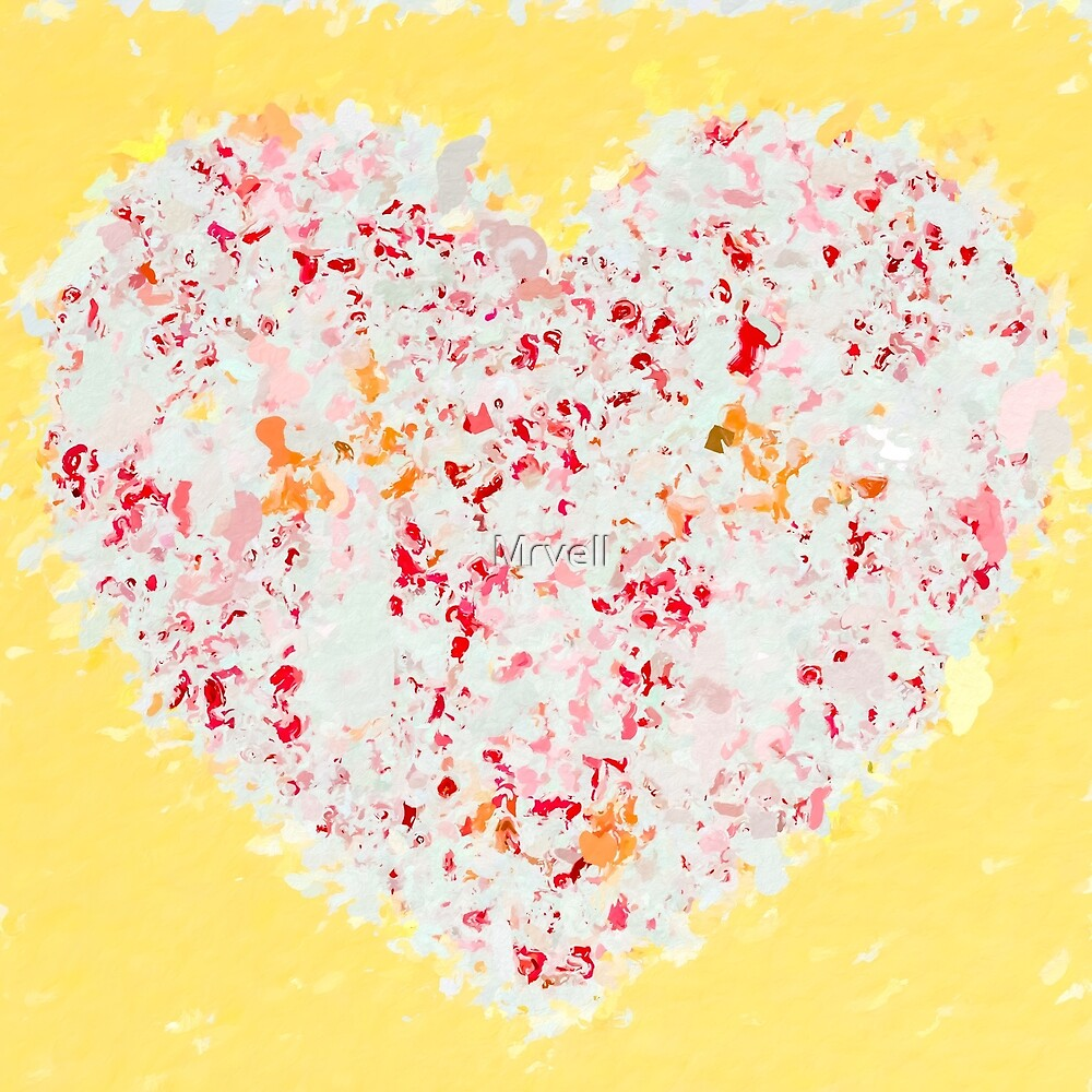 pink and red heart shape with yellow background by Mrvell