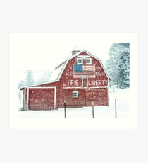 Americana Barn in the Snow Storm Art Print