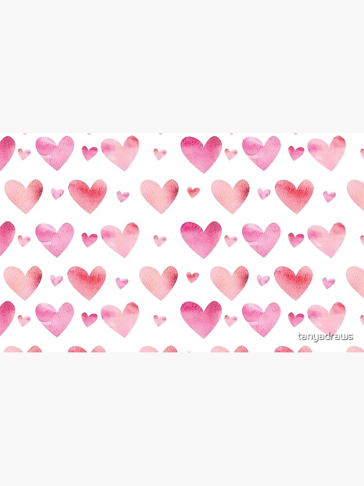 Pink Watercolor Hearts Valentines Design by tanyadraws