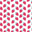 Cute Strawberry Fruit Pattern by tanyadraws